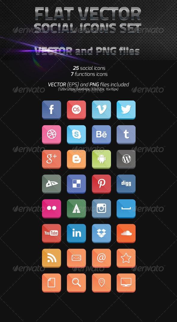 Flat Vector Social Icons - Web Icons