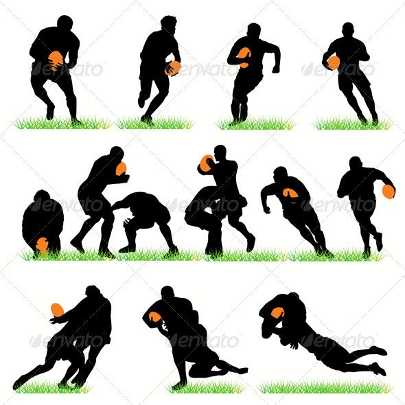 Rugby Players Silhouettes Set - Sports/Activity Conceptual