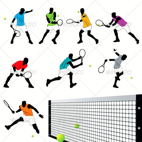Tennis Players Silhouettes Set - Sports/Activity Conceptual