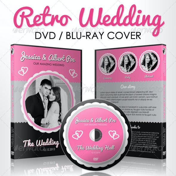 Retro Wedding DVD & Blu-ray Cover With Disc Label