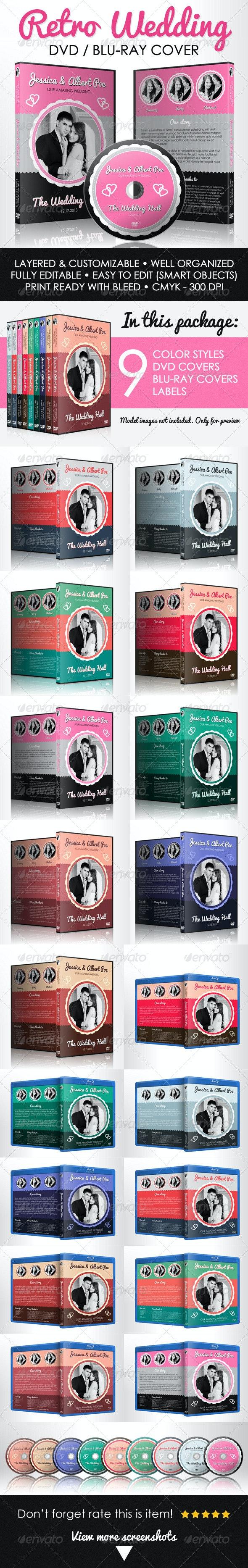 Retro Wedding DVD & Blu-ray Cover With Disc Label - CD & DVD Artwork Print Templates