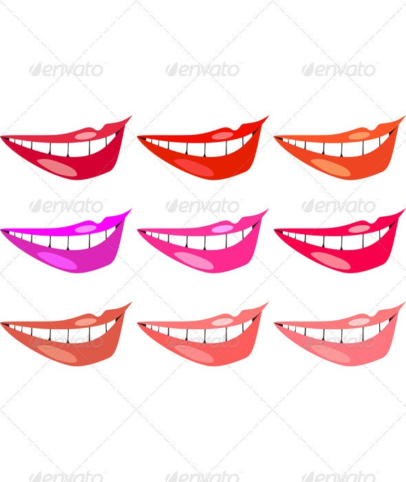 Vector set of images of women's lips in different  - People Characters