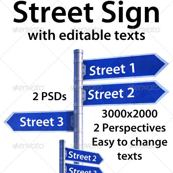 Street Sign with Editable Texts.