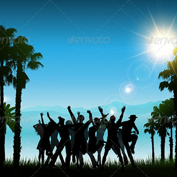 Party People in Tropical Landscape