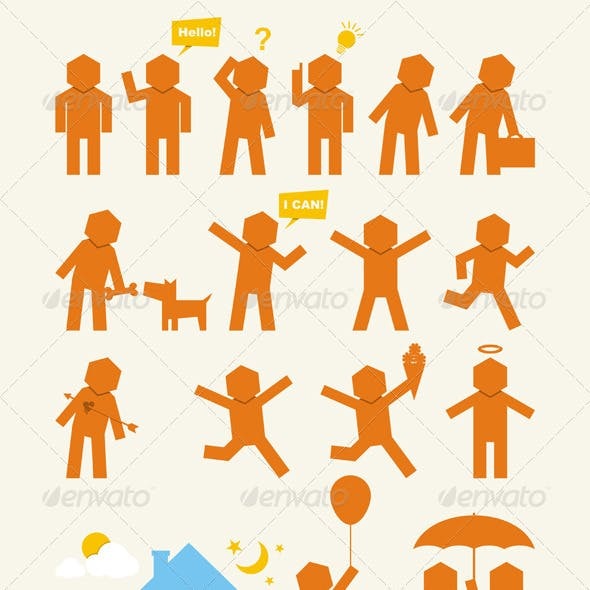 Hexagonman Icons Set - People Activity