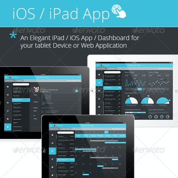 Flat iPad - iOS - Tablet App & Dashboard