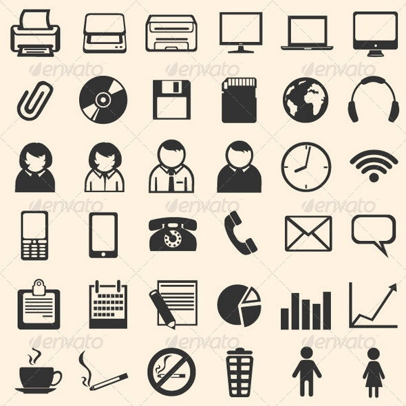 36 Black Office Icons - Miscellaneous Characters