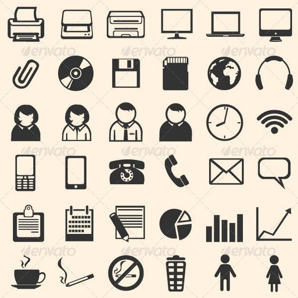 36 Black Office Icons