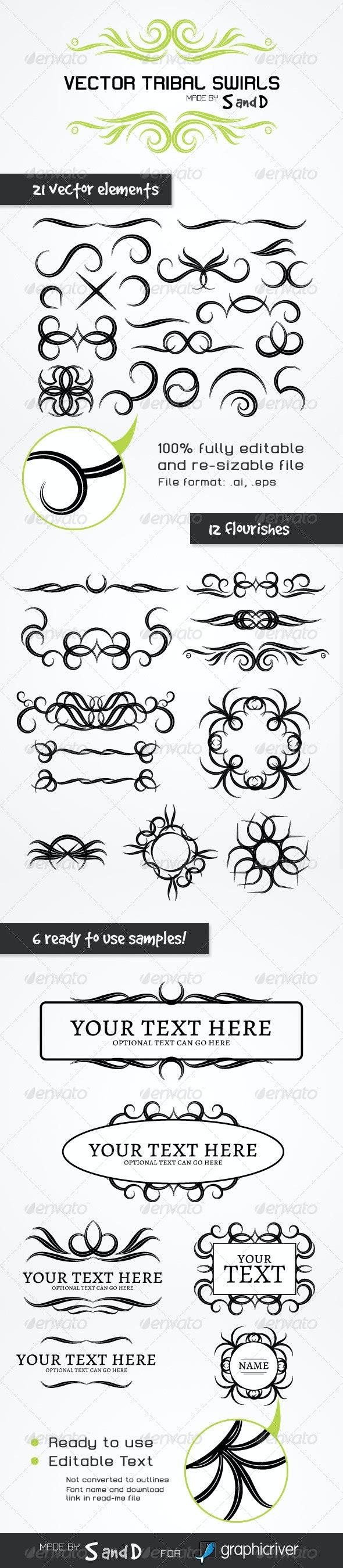 39 Vector Tribal Items - Flourishes / Swirls Decorative