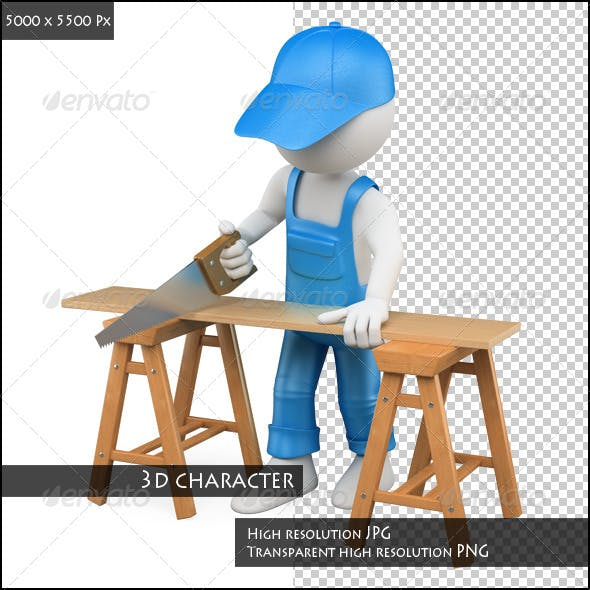 3D White People. Carpenter Cutting with a Hansaw