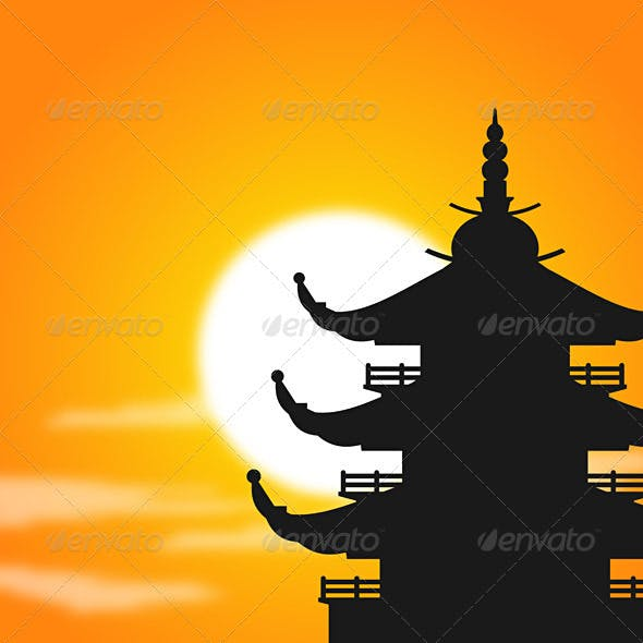 Pagoda Silhouette at Dusk