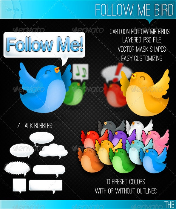 Follow Me Bird - Animals Illustrations