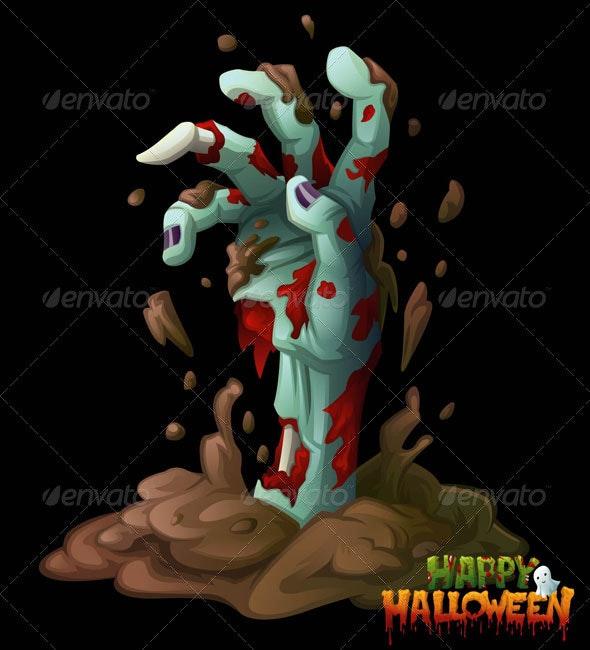 Zombie Hand Halloween Vector Clip Art - Halloween Seasons/Holidays