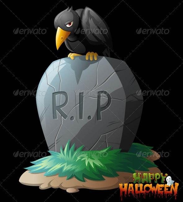 Raven on Grave Halloween Vector Clip Art - Halloween Seasons/Holidays