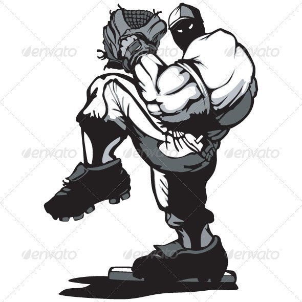 Baseball Player Pitcher Cartoon  - Sports/Activity Conceptual