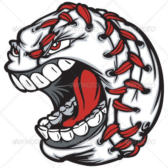 Baseball Ball Cartoon Face Illustration - Sports/Activity Conceptual
