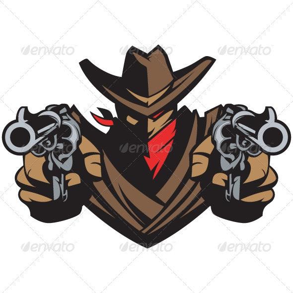 Cowboy Mascot Aiming Guns - People Characters