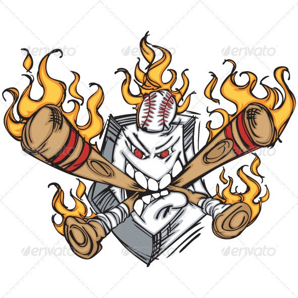 Softball Baseball Plate and Bats Flaming Cartoon L - Sports/Activity Conceptual