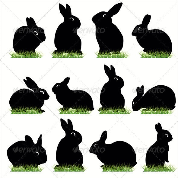 Rabbits Silhouettes Set - Animals Characters