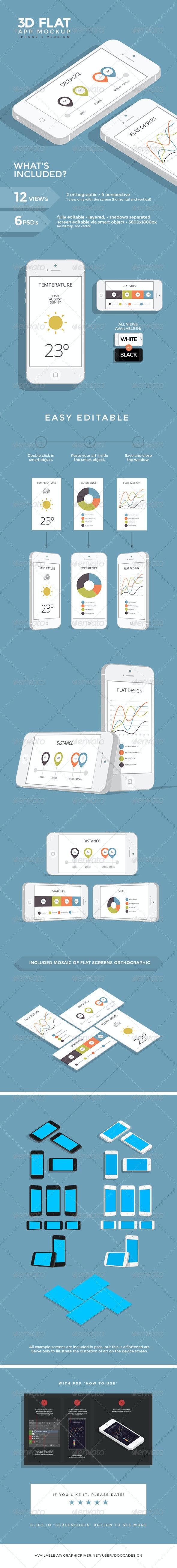 3D Flat App Mockup - Phone - Mobile Displays
