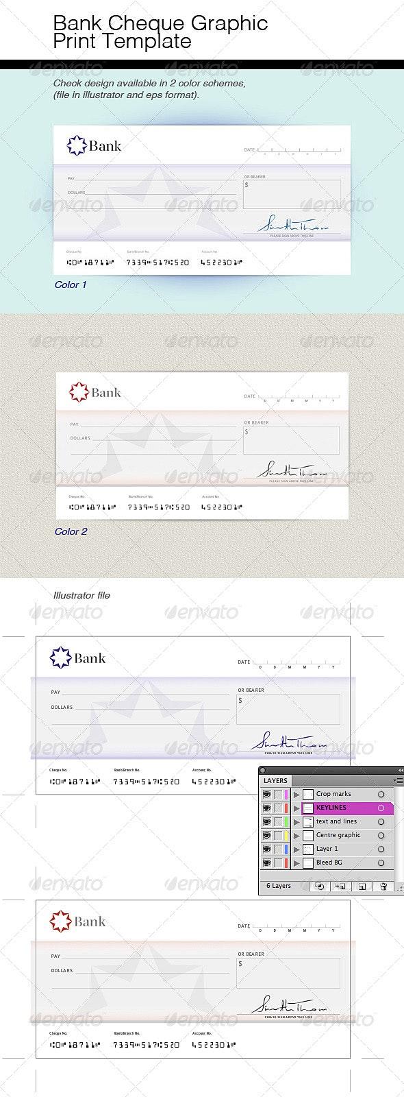 Bank Check Graphic Print Template - Miscellaneous Print Templates