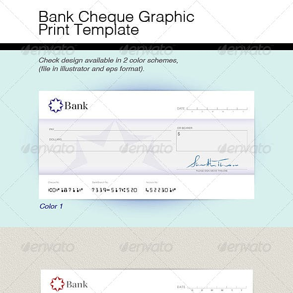 Bank Check Graphic Print Template
