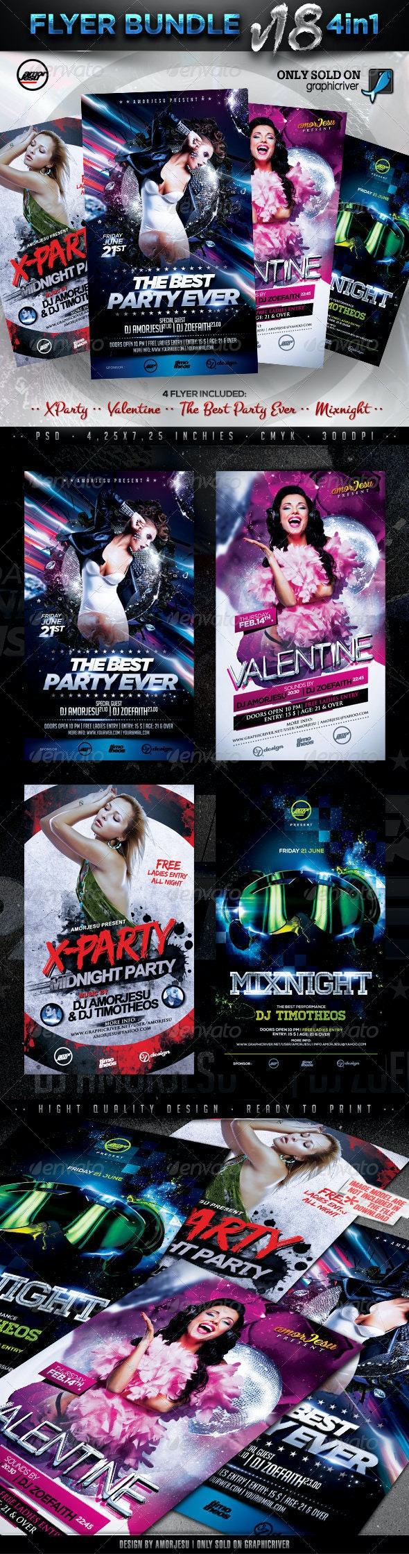 Flyer Bundle Vol18 - 4 in 1 - Clubs & Parties Events