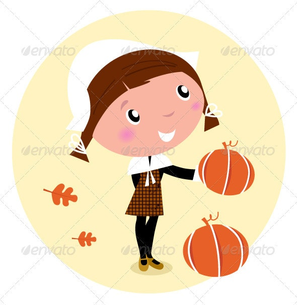 Thanksgiving day, Harvest - Pilgrim Child - People Characters