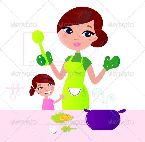 Mother cooking healthy food with child in kitchen  - Food Objects