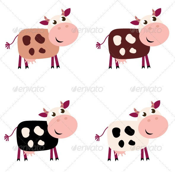 Cute cow set in 4 different colors - Animals Characters