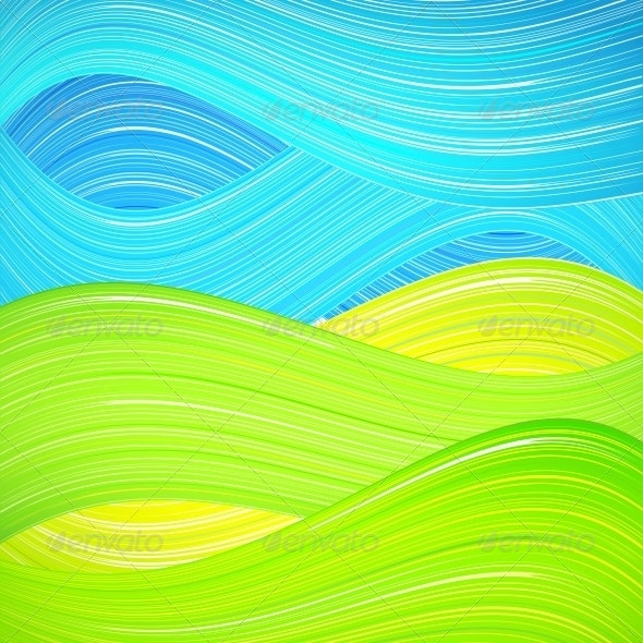 Green and Blue Wave Background - Landscapes Nature