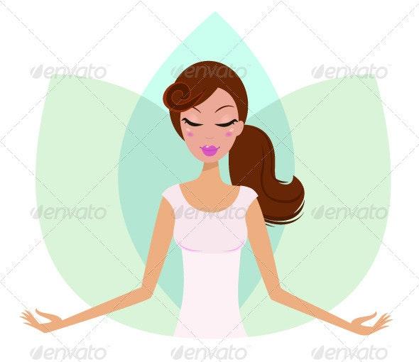 Yoga meditating cute girl in Lotus Flower - People Characters