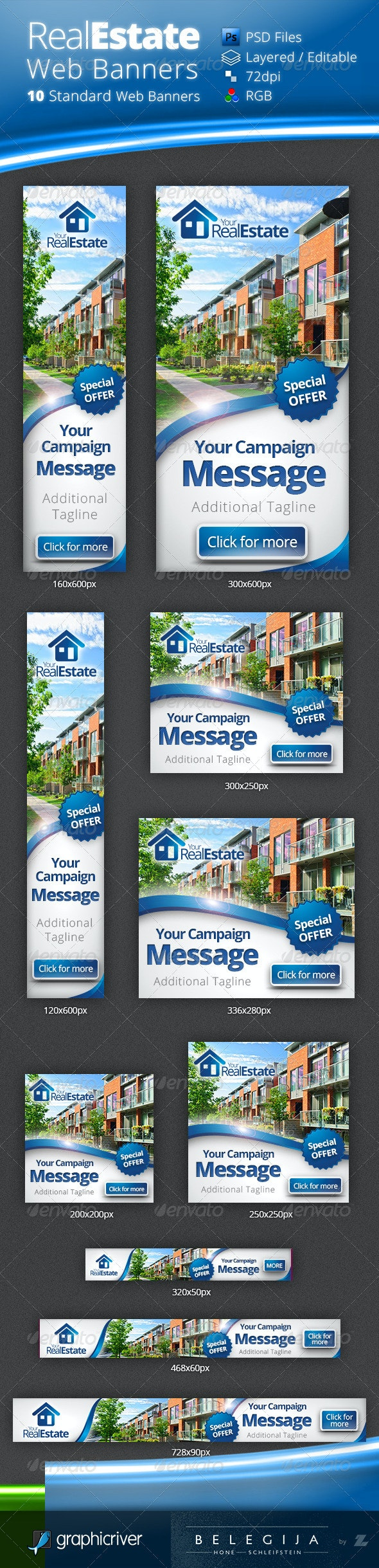 Real Estate Campaign Web Banners - Banners & Ads Web Elements
