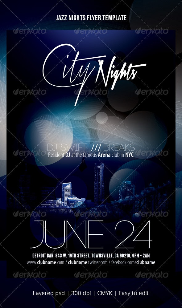 Jazz nights flyer template - Events Flyers