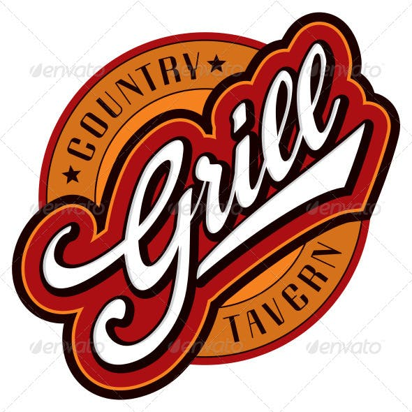 Grill Hand Lettering Design (vector)