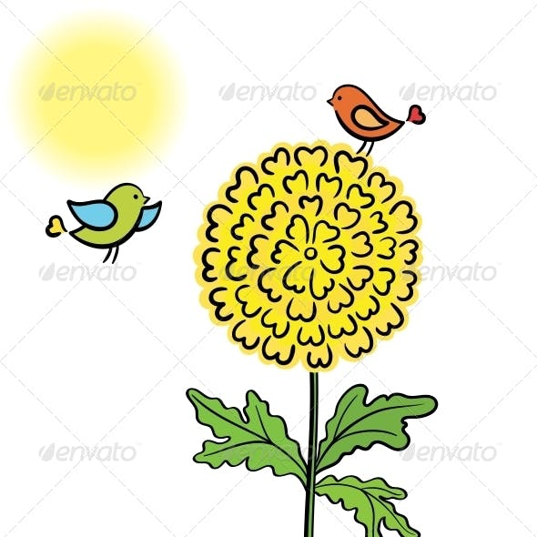 Two Enamored Bird Couple on the Flower