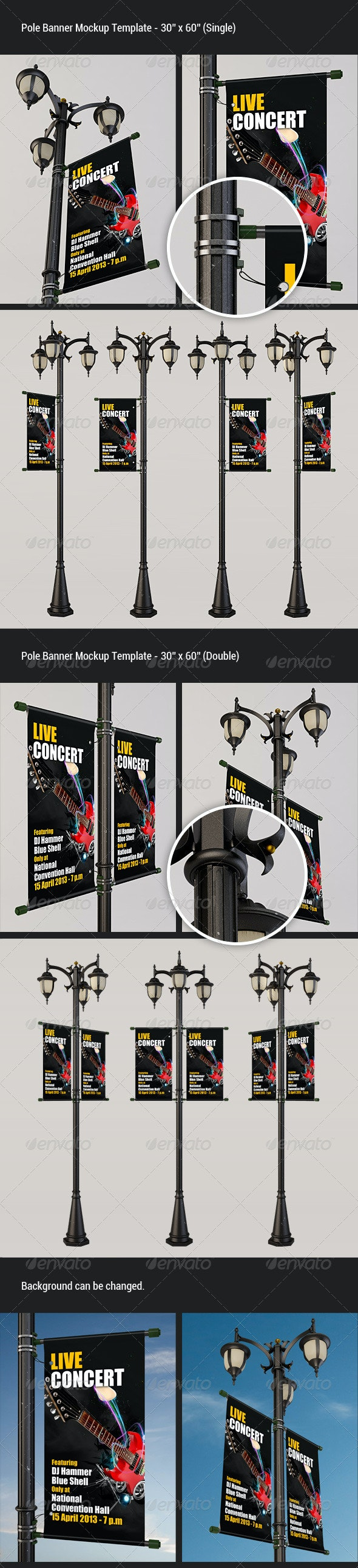 Pole Banner Mock-Up - Miscellaneous Print