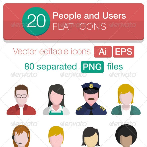 20 People and Users Flat Icons