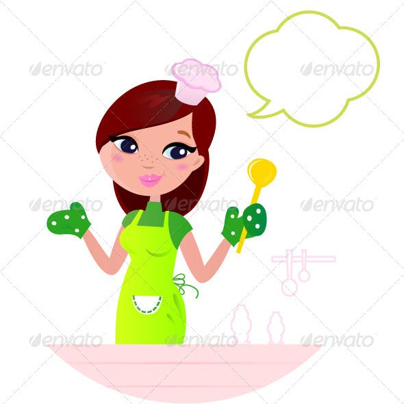 Young beautiful woman with speech bubble cooking