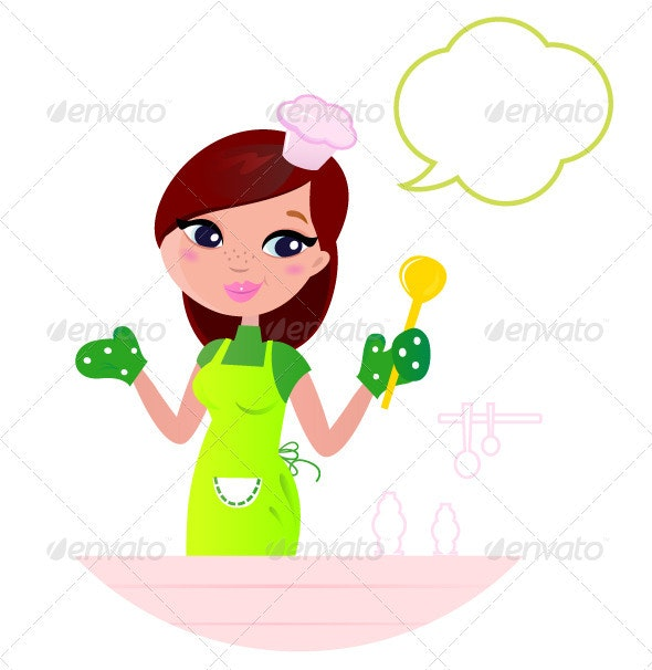 Young beautiful woman with speech bubble cooking - People Characters