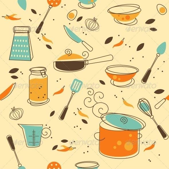 Two Kitchen Seamless Pattern