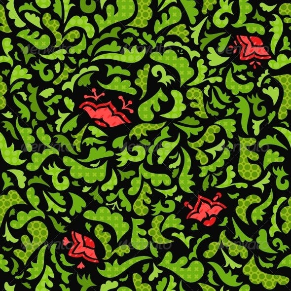 Abstract Green and Red Floral Seamless Pattern