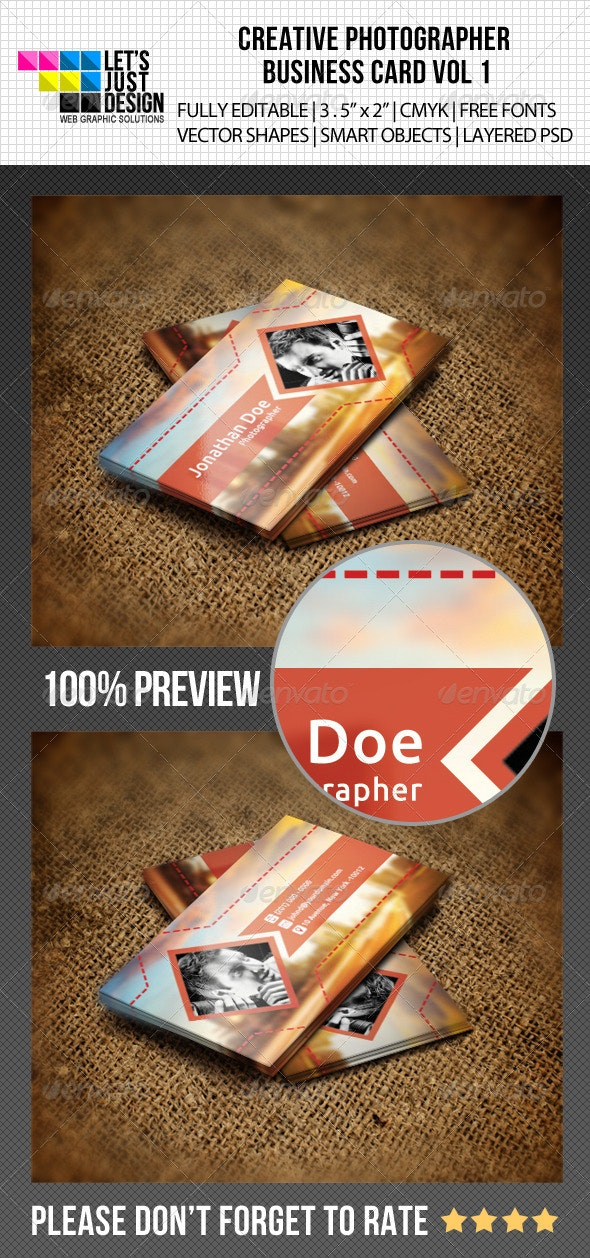 Creative Photographer Business Card Vol 1 - Industry Specific Business Cards