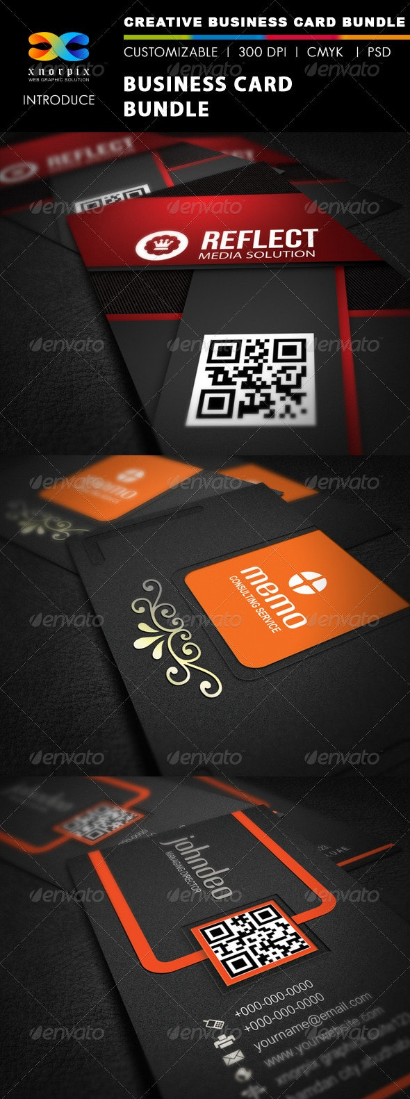 Business Card Bundle 3 in 1-Vol 9 - Corporate Business Cards