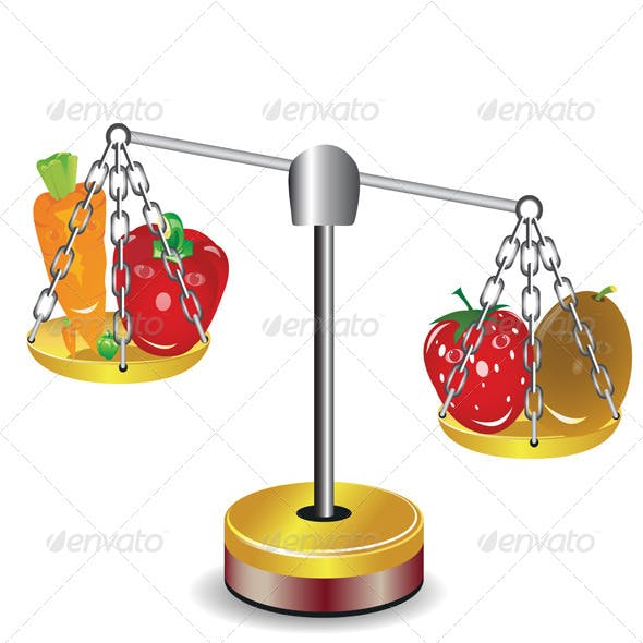 Set of Fruits and Vegetables on scales