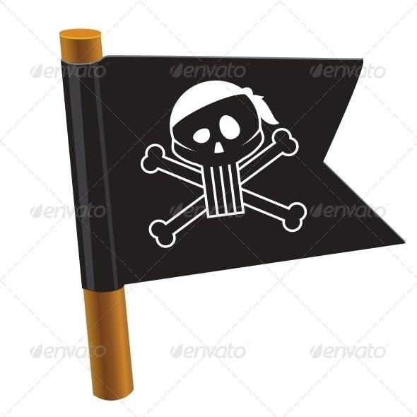 Black Flag with Pirate Symbol