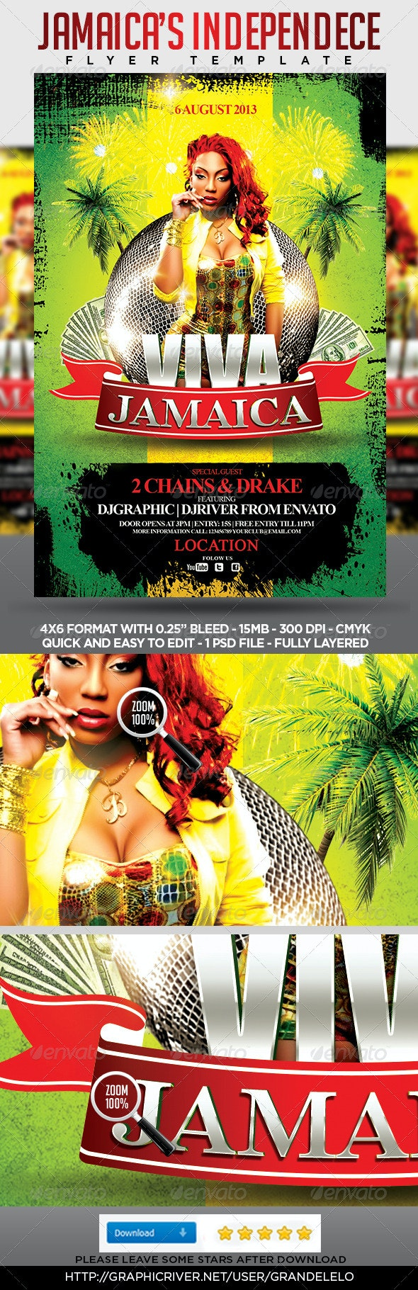 Viva Jamaica Flyer Template - Holidays Events