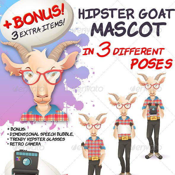 Hipster Goat Mascot in 3 Different Poses