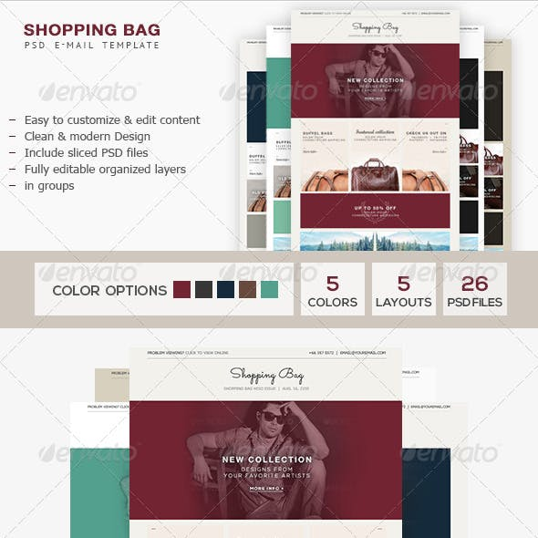 Shopping Bag - E-Commerce PSD Email Template