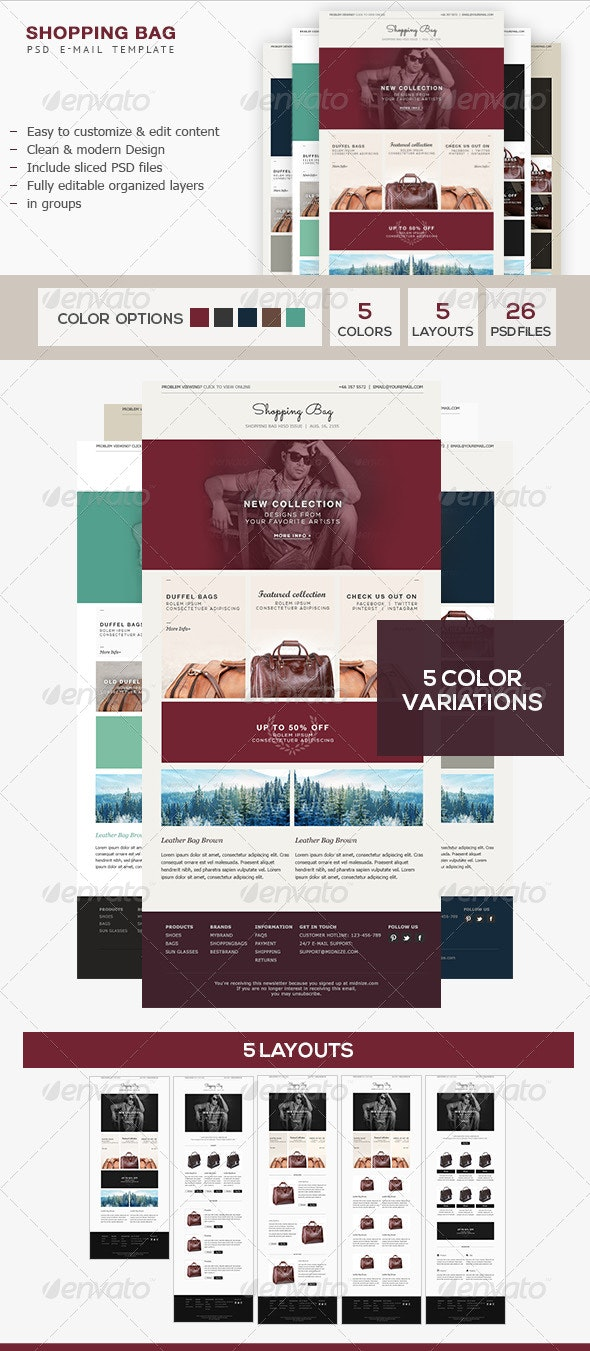 Shopping Bag - E-Commerce PSD Email Template - E-newsletters Web Elements